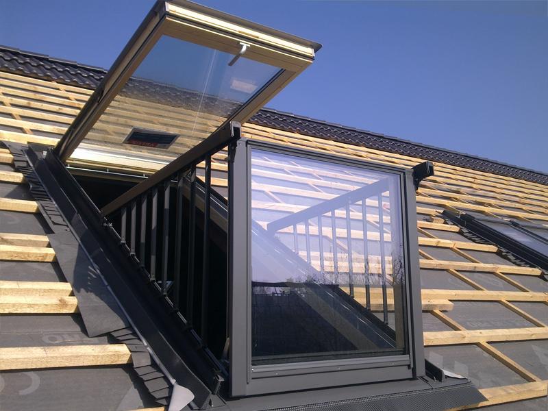 Sachtellebenstraße Bernau - Speziallösung VELUX Dachbalkon, Typ: Cabrio, hier in der vorbereiteten Dachfläche